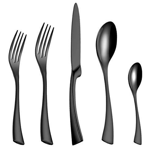 SZTUCCE 20pcs / Set Steel de Acero Inoxidable Negro Cubiertos Conjunto de vajillas Sildetes de vajilla Conjuntos Cuchillo y Tenedor (Color : Black 20pcs)