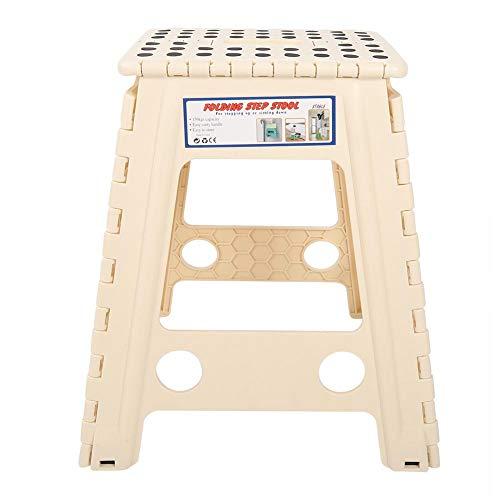 Telituny Plast pall-bärbar levande plast poäng hopfällbar trappstol halkfri vikbar vuxen stol (svart och ljusvit)