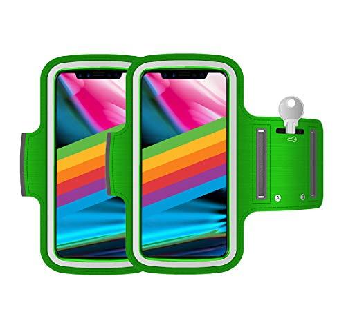 AR-Gun Brazalete Deportivo Pack 2 uds valido para Smartphones de hasta 6.8' Compatible con iPhone 11 Pro MAX XS MAX 11 Samsung Galaxy S20 Plus S10 Plus S9 Plus S8 Plus (Verde)