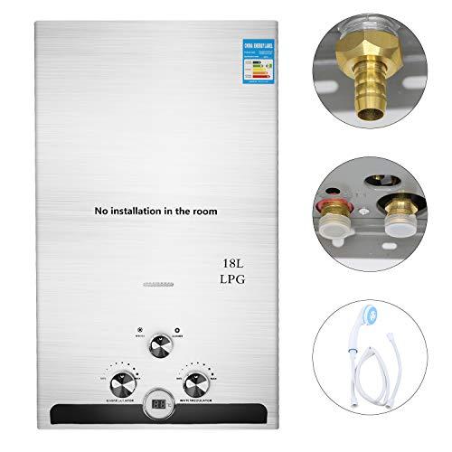 GNEGNIS Durchlauferhitzer, 18L LPG Propangas-Warmwasserbereiter, Automatikzündung Edelstahl-Flüssiggas-Warmwasserbereiter mit Duschkopf-Kit Wand-Warmwasserbereiter