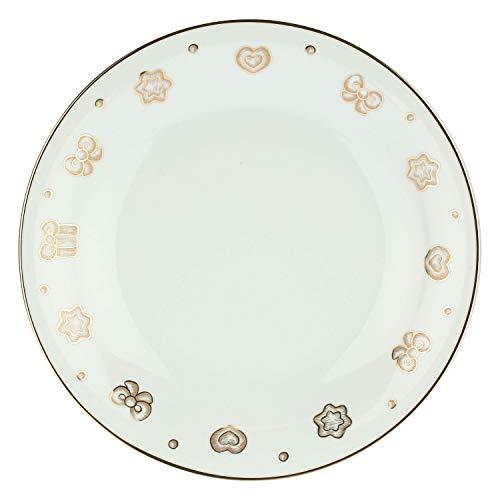 THUN - Piatto con Decorazioni Natalizie - Natale - Accessori Cucina - Linea Gold Icons - Porcellana, Oro 24 K - Ø 31,9 cm