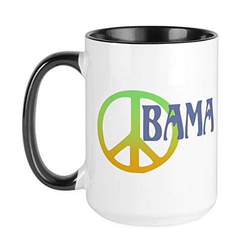 CafePress–Peace Zeichen Obama–Kaffee Tasse, groß 15Oz Weiß Kaffee Tasse Large White/Black Inside