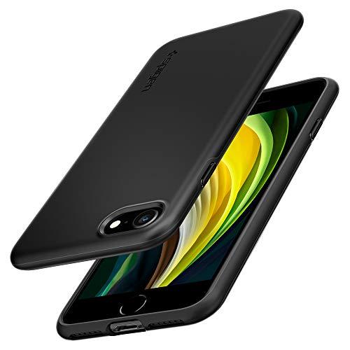 Spigen Thin Fit Pro Kompatibel mit iPhone SE 2020 Hülle, iPhone 8/7 Hülle Slim PC mit TPU Silikon Rahmen Einteilige Dünn Handyhülle Case Schwarz ACS01339
