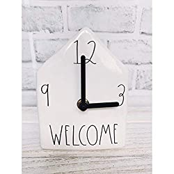 Rae Dunn by Magenta Home Ceramic LL Welcome Desk Shelf Clock 2019 Limited Edition