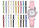 Interchangeable Girl Watch Set – 1 Quartz Analog Wrist Watches with 20 Assorted Colored Leather Straps and Bezels – Plus 2 Extra Flower Pattern Straps - Back to School - School Reward - VW2020-1W