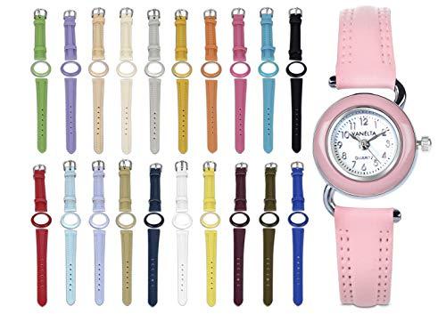 VANELTA Intercambiables del Reloj de Las Mujeres Set 1 Relojes con Correa y Bisel Multicolor 20 Piel Surtido Colores Reloj con Correas Intercambiables sorteo