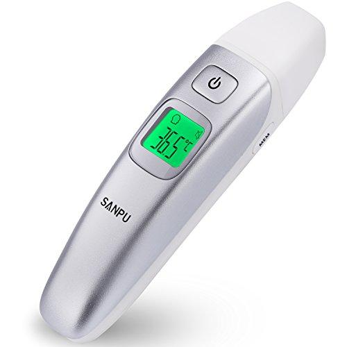 SANPU Termómetro Infrarrojo Digital Médico para Frente y Oreja para Bebés, Niños y Adultos con fiebre indicador CE y FDA aprobado
