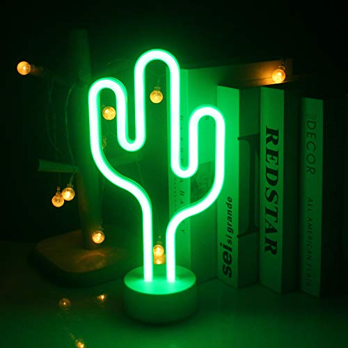 LED Kaktus Neonlicht mit Halter Basis ältere Kinder stehen Nachtlicht USB/Batterie grün dekorative Licht Logo für Kinder Mädchen Raumdekoration Geburtstagsfeier Urlaub Dekoration (grüner Kaktus)