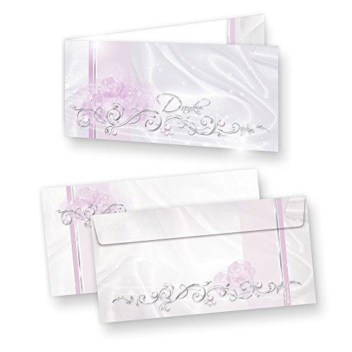 Schmucke Danksagungskarten DE LUXE (20 Sets) sehr elegante Dankeskarten nach Feier, Geburtstag oder Hochzeit