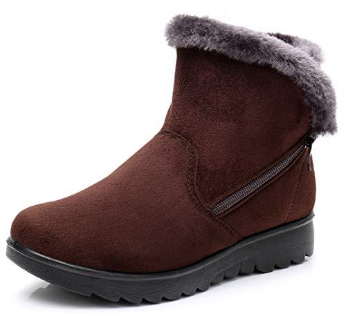 DADAWEN Women's Winter Warm Side Zipper Warm Snow Boots Brown US Size 6.5