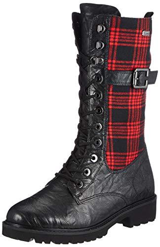 Remonte Damen D8674 Halblange Stiefel, schwarz/rot-schwarz/schwarz / 02, 42 EU