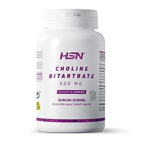 Colina Bitartrato de HSN | 500mg | Nootrópico Natural para Mejorar la Función Cognitiva, Estudiar, Concentrarse Mejor y Estimular la Memoria, Vegano, Sin Gluten, Sin Lactosa, 120 Cápsulas Vegetales