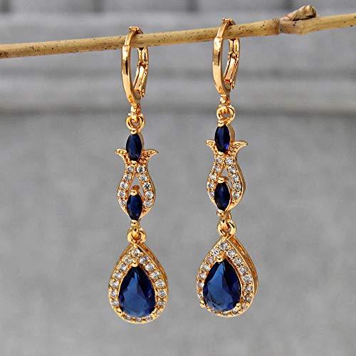 HoopsEarringsForWomen,Fashion Blue Water Drop Zircon Long Dangle Hoop Piercing Earrings Hypoallergenic Lightweight Hoop Ring Circle Jewelry Earrings For Women Girls Party Wedding Valentine'S