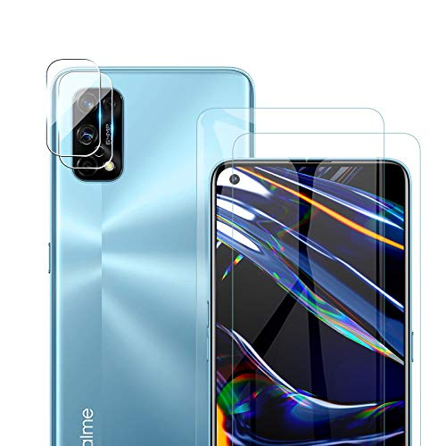 GEEMEE pour OPPO Realme 7 Pro Verre trempé +Arrière Caméra Verre Trempé, 【2 Pack +2 Pack】 Ultra Clair 9H Crystal Clear Film Protection Ecran Anti - Rayures Glass Screen Protector (Transparente)