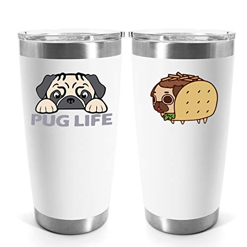 Funny Tumbler Pug Gift for Pug Lovers Friends Family Coworkers Kids Birthday Mothers Day Puppy Coffee Cup 20oz Stainless Steel Travel Mug Thermal Water Bottle for Hot & Cold Drinks
