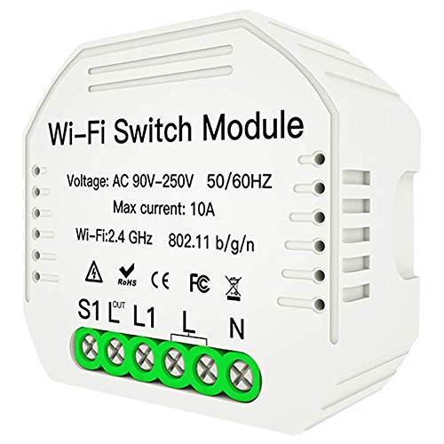Smart WiFi Switch Relay for in Wall Light Switch, 3 Way Switches, Fans, Bulbs, Outlets etc. WiFi Enable APP Remote Control Compatible with Alexa Google Home IFTTT DIY Smart Home Automation Module
