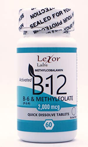 Lexor Labs Activated Vitamin B12, Vitamin B6 (p5p) & Methylfolate Quick Dissolve Tablets - 2mg, 60Count -Supports Heart & Nerve Tissues - Vitamin Supplements