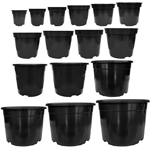Elixir Gardens Strong Round Black Plastic Garden Plant/Flower Pots with Reinforced Rim 12Litre x 10