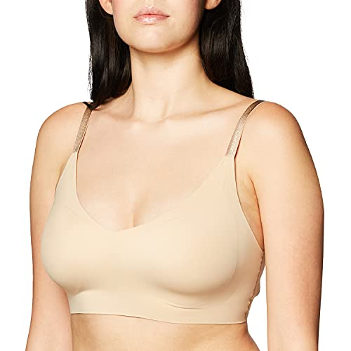 Calvin Klein Women's Invisibles Wirefree Lightly Lined Triangle Bralette, Bare, M