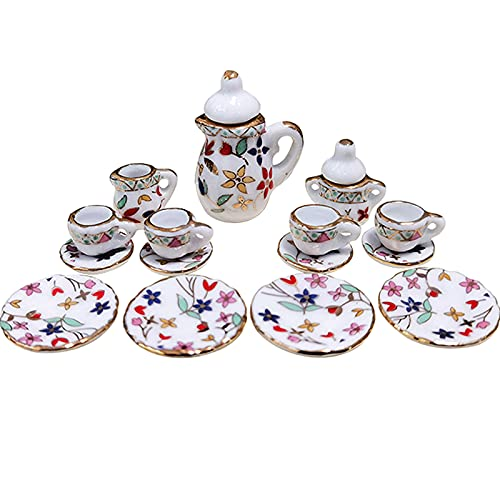 MHW 15 Piece 1/12 Miniature Porcelain Tea Cup Set Flower Pattern Dollhouse Kitchen Accessories (White)