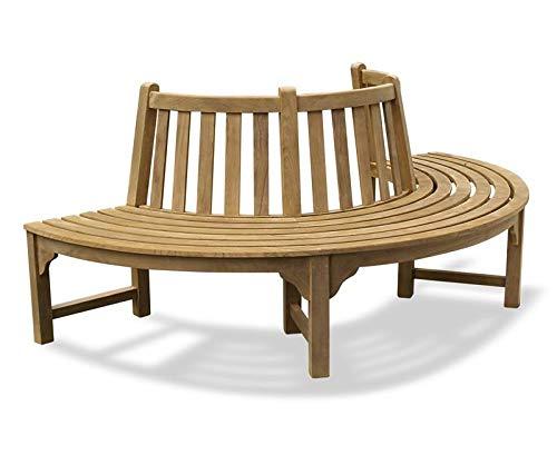 Teako Design Baumbank Fermo wetterfest Teakholz massiv Rückenlehne Außendurchmesser 200 cm, 180°