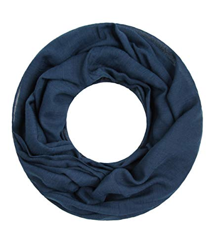 Majea Loop Cary Basic Schal Tuch Damen-schal Schlauchschal Rundschal Halstücher uni unifarben Loopschal einfarbig (navy 1)