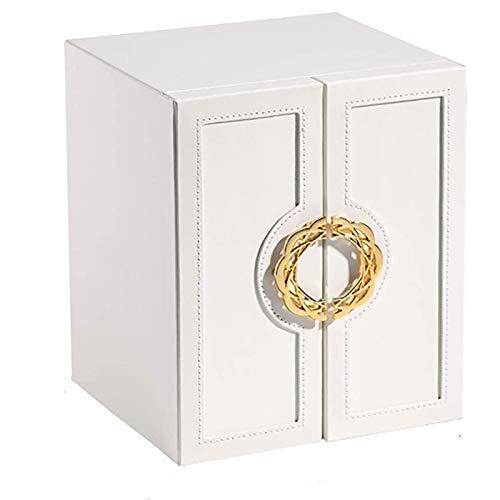 Laytte Joyero Grande, Caja de Regalo de 5 Cajones para Mujer Cajas para Joyas Armario de Joyería de Cuero Artificial para Guardar Collares Pulseras Pendientes Anillos Relojes Color Blanco