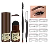 Eyebrow Stamp and Stencil Kit- Eyebrow Stamp Shaping Kit Professional Eyebrow Powder Stamp Waterproof Long Lasting Instantly Color(Dark Brown)
