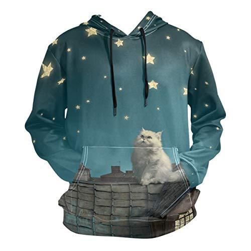 NaiiaN Moon Star Dachkatze mit Tasche Langarm Pullover Herren Hoodie Kapuzenpullover Lässige Blumen Grafikdruck