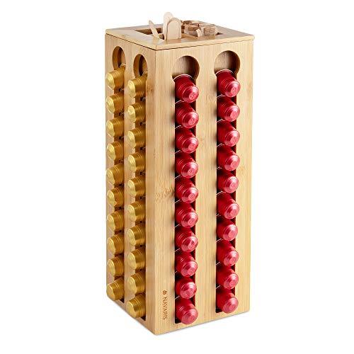 Navaris Kapselhalter Aufbewahrung Bambus für Nespresso Kapseln - Ständer Halterung für 80 Kaffeekapseln - Kapsel Halter Kapselspender - drehbar