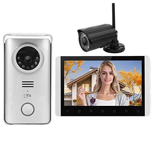 7in TFT LCD Timbre Videoportero Teléfono 2.4G Videoportero inalámbrico RFID Visión nocturna Kit de portero automático con cámara de vigilancia Timbre de seguridad para el hogar(EU)