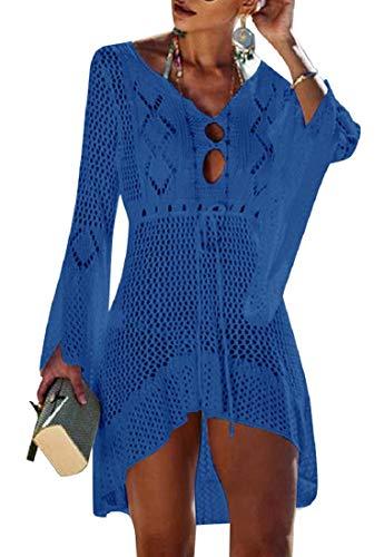 Voqeen Damen Bikini Cover Up Strandkleider Crochet Stricken Boho Strandponcho Häkeln Kittel Sommer Tunika, Blau, Einheitsgröße
