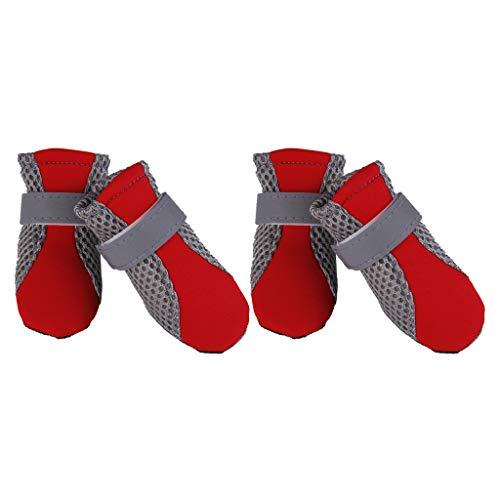 F Fityle Hondenschoenen, ademend, voor hardlopen, wandelen, poot bescherming / enkellaarsjes - rood S