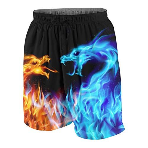 HXJIULI Jungen Badehose Blau und Rot Fire Dragon 3D Printed Quick Dry Beach Board Shorts mit elastischer Taille und Mesh-Futter - - Klein