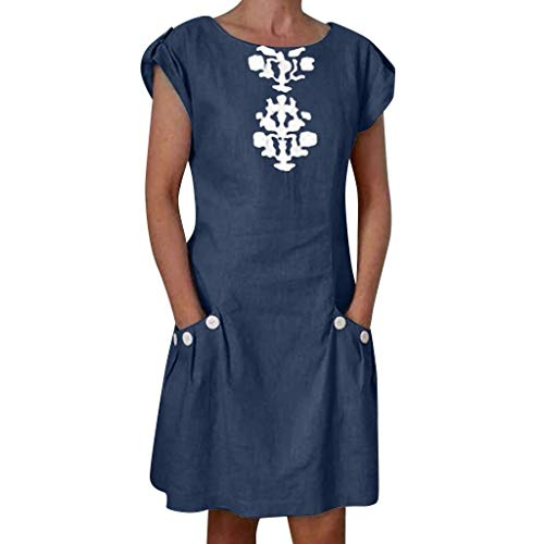 URIBAKY Boho Frauen beiläufige Leinenkleid-A-Linie mit Tasche-geknöpft Dekor Reißverschluss zurück,lose Minikleid,Damen Kleider elegant Knielang