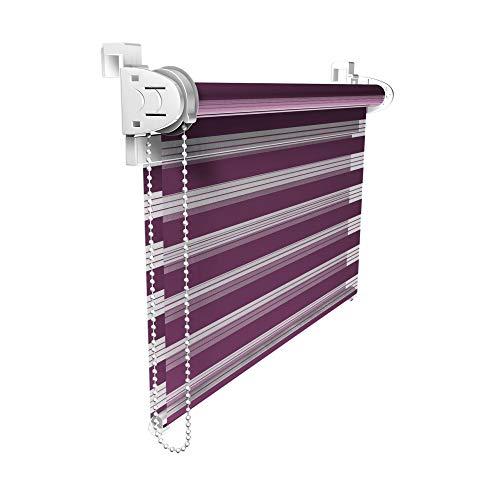 Victoria M. Duo Klemmfix - Estor Doble (fijación sin perforar), Color púrpura, tamaño 120 x 150 cm