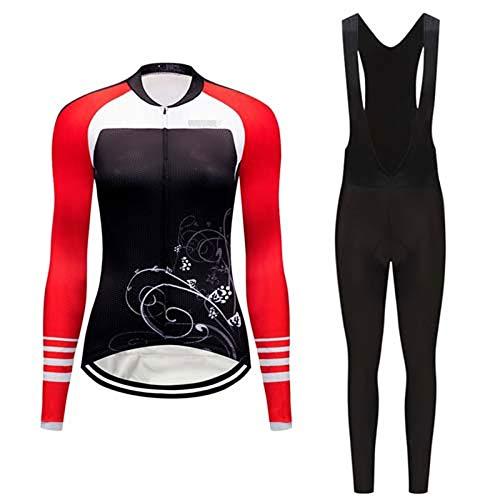 ZWW Mujeres Ropa de Carretera Conjuntos Mujer Ciclismo Jersey Gel Pad Bib Pantalones Kits Ropa Trajes Mtb Maillot Trajes, color Juegos 6, tamaño 4XL