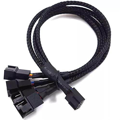 FOOSKOO 1 a 4 Maneras Splitter Black Manguito Conector de Cable de extensión 27 cm 4Pin PWM Cables de extensión 4 Pin PWM Fan Cable (Size : 1PCS)