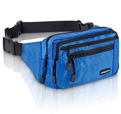 VAN BEEKEN Bauchtasche Gürteltasche für Damen und Herren mit Gurtverlängerung I wasserabweisende und reißfeste Hüfttasche I Hip Bag, Blau