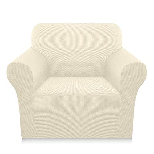 HYCy Lujosa Funda de sofá para sofá de 3 Cojines, Antideslizante, Elegante Funda de sofá, Fundas de sofá súper Suaves, Protector Lavable para Muebles con Fondo elástico (Beige, pequeño)