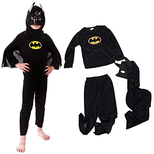 Disfraces Batman Niño Negro,Superhéroe Batman Disfraces Homecoming Halloween Navidad Traje Batman Niño Cosplay Suit, Máscara y Disfraz Independientes