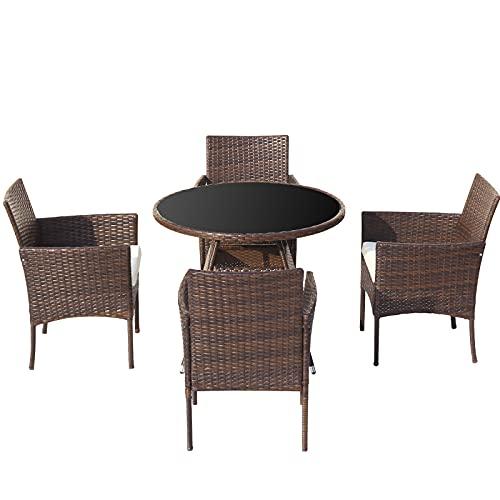 Pumpumly Mesa de comedor de ratán de jardín con 4 sillas,Conjunto de muebles Patio Conservatorio interior al aire libre