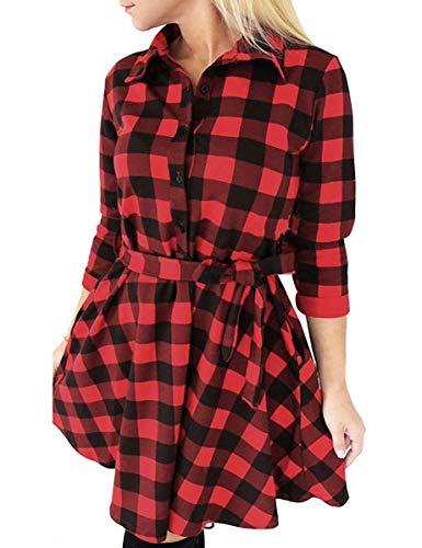 FANCYINN Blusenkleid Damen Kariert Langarm Hemdkleid Gestreift Kleid Lässige Kleidung mit Gürtel (rot, L)
