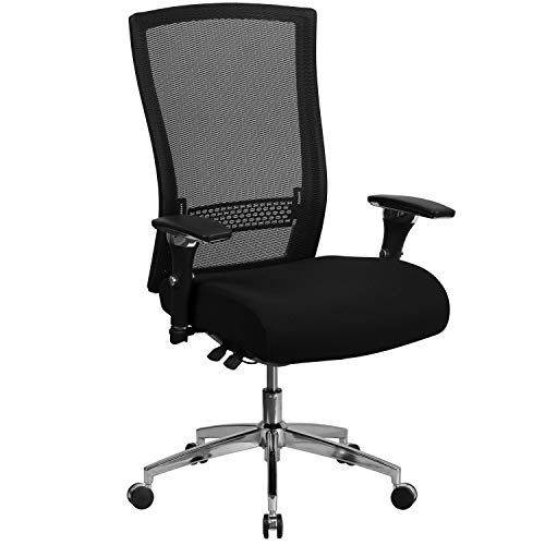 Flash Furniture HERCULES Series 24/7 Intensive Use 300 lb. Rated Black Mesh Multifunction Ergonomic Office Chair with Seat Slider