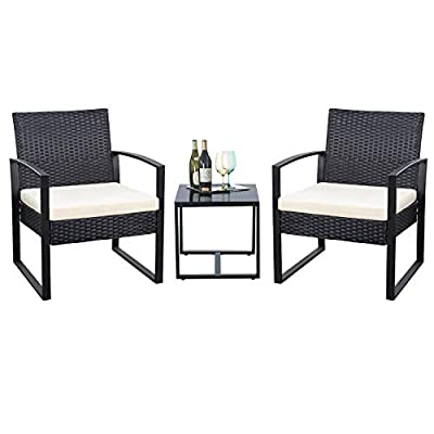 Flamaker 3 Pieces Patio Set Outdoor Wicker Patio Furniture Sets Modern Bistro Set Rattan Chair Conversation Sets with Coffee Table for Yard and Bistro