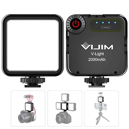 VIJIM VL49 Luz de Video LED en la Cámara con 3 Zapatas Frías, luz de Video LED Mini Recargable Mejorada de 2000 mAh, Lámpara de Fotografía Profesional CRI95 + Regulable 5500K para Grabación de Vlogs