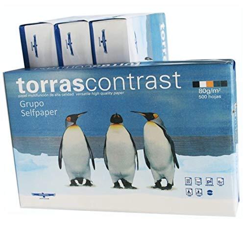 Caja 5x Paquete de 500 Hojas Din A4 80 gr. Papel Blanco. Folios Din A4 multiusos Torras Contrast. Valido Impresoras tinta, laser, fotocopias, color injet, fax. (5)