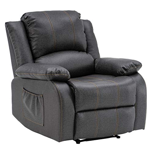 VINGLI Recliner Chair for Living Room Leather Recliner Heavy Duty Manual Reclining Chair with Big Armrests,Overstuffed Home Theater Recliner Sofa Large Gaming Recliner Chair for Adults(Grey)