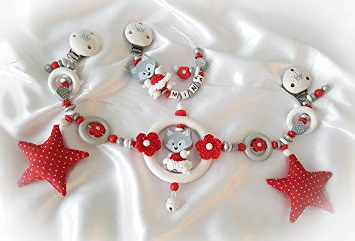 Kinderwagenkette mit Namen - Geschenk zur Taufe, Geburt (Set: Kinderwagen- & Schnullerkette Fuchs, Grau, Weiß, Rot)