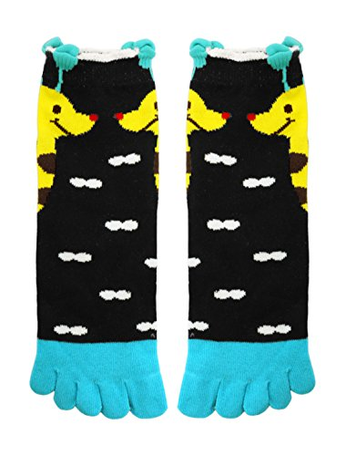 sourcingmap® Damen Elastisch Schnalle Giraffe Neuheit Muster Zehe Socken Gr. 9-11 Blau